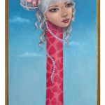 Harajuku Giraffe, 14x6, Oil on Wood, Sold