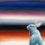 Gray BunBun, 10x10, acrylic/resin on panel, Sold