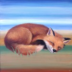 Sleepy fox, 12x12, acrylic/resin on panel, Sold