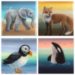 Mixed selection, 5x5 resin animals, all sold