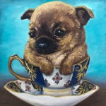 Teacup Pup (So Regal), 6x6, Oil on panel, Sold