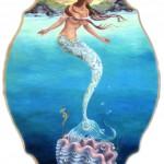 Mermaid at Sunrise, 19x12, Oil on Wood
