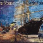 New York Seaport, 16x20, Mixed Media Resin Panel