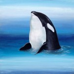 Orca, 8x8, acrylic/resin on panel, Sold