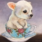 Teacup Pup (Treats?), 6x6, Oil on panel, Sold