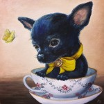 Teacup Pup (Bashful), 6x6, Oil on panel, Sold