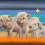 "Piggie Family, 12"" x 14"", acrylic/resin on panel, Sold"