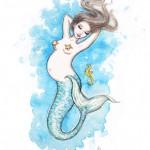 Preggie Mermaid, 10x8, Watercolor, Sold
