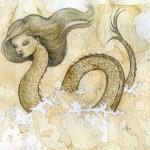 Sea Serpent, 9x12, coffee/pencil/paper, Sold