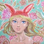 Sunny Bunny, 5x5, Acrylic Resin on Wood
