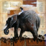 The Majestic, 24x24, Mixed Media Collage Panel, Sold