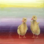 Duckies, 12x12, acrylic/resin on panel, Sold