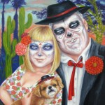 "Dia de los Muertos Family Portrait, 14""x11"", Oil on panel"