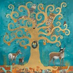 Tree of Life Duex, 40x40, acrylic and Gold leaf on panel, Sold