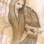 Siren (bird girl), 8x7, coffee/pencil/paper, Sold
